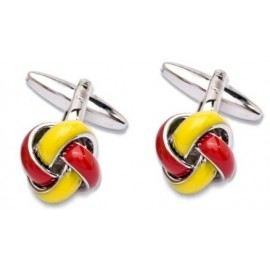 Red and Yellow Enamel Knot Cufflinks