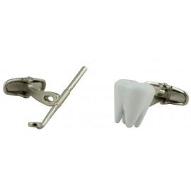 Gemelos Muela y Espejo Dentista Blanco