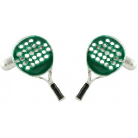 Green Paddle Racket Cufflinks