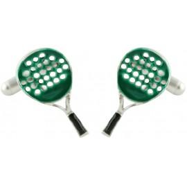 Green Paddle Racket Cufflinks