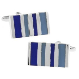 Blue and White Striped Rectangle Cufflinks