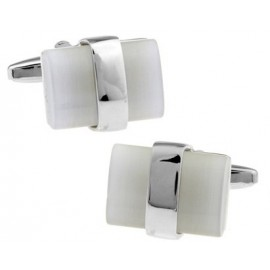 Silver Wrapped White Catseye Cufflinks