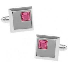 Pink Crystal Square Cufflinks