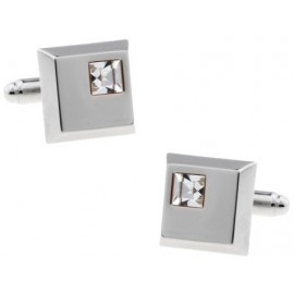 White Crystal Square Cufflinks