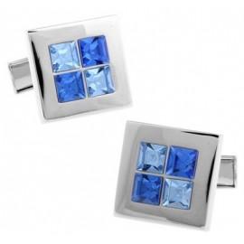 Blue and Light Blue Checker Cufflinks