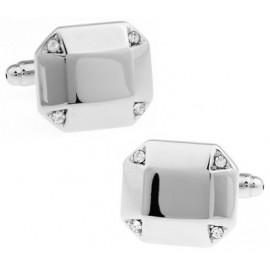 White Crystal Octagon Cufflinks