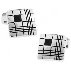 Black Crystal Ribbed Square Cufflinks