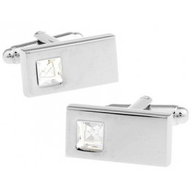 White Crystal Rectangle Cufflinks