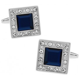 Blue Crystal in White Crystal Frame Cufflinks