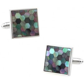 Multicolored Onyx Hexagons Cufflinks