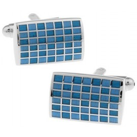 Blue Checker Rectangle Cufflinks