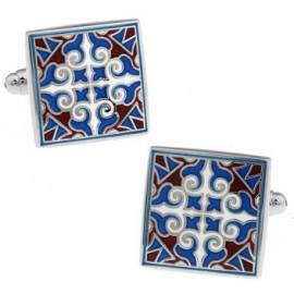 Gemelos Cuadrados Símbolos Granate y Azul