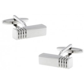 Silver Ribbed Bar Cufflinks