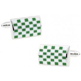 Green Checkerboard Cufflinks