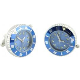 Gemelos Reloj Esfera Azul Plated