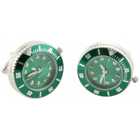 Gemelos Reloj Esfera Verde Plated