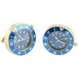 Gemelos Reloj Esfera Azul Golden
