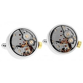 Round Silver and Gold Watch Movement Cufflinks