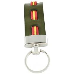 Llavero Cuero Verde Bandera España