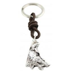 Silver Wild Boar Head Keychain