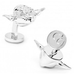 Palladium 3D Yoda Head Cufflinks