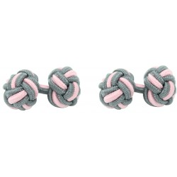 Grey and Light Pink Silk Knot Cufflinks