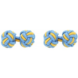 Blue and Dark Yellow Silk Knot Cufflinks