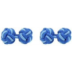 Cobalt Blue and Light Blue Silk Knot Cufflinks