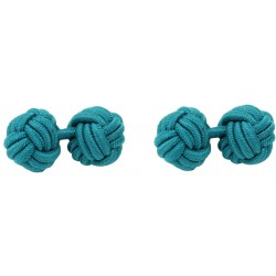 Bottle Green Silk Knot Cufflinks