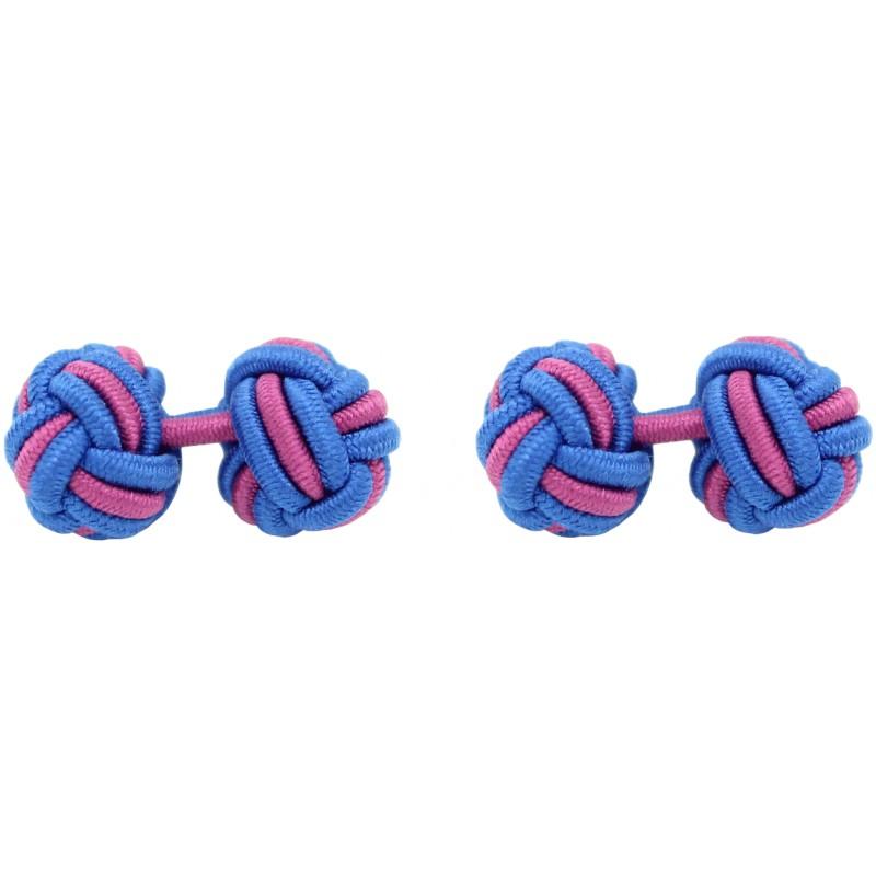 Fuchsia Knot Silk Cufflinks