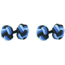 Black, Cobalt Blue and Light Blue Silk Knot Cufflinks