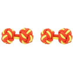 Red and Yellow Silk Knot Cufflinks