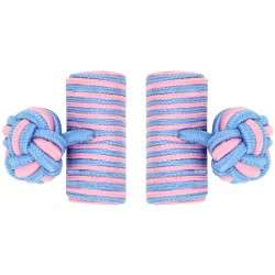 Light Blue and Pink Silk Barrel Knot Cufflinks