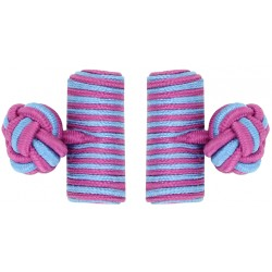 Fuchsia and Light Blue Silk Barrel Knot Cufflinks