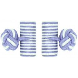 Light Purple and White Silk Barrel Knot Cufflinks