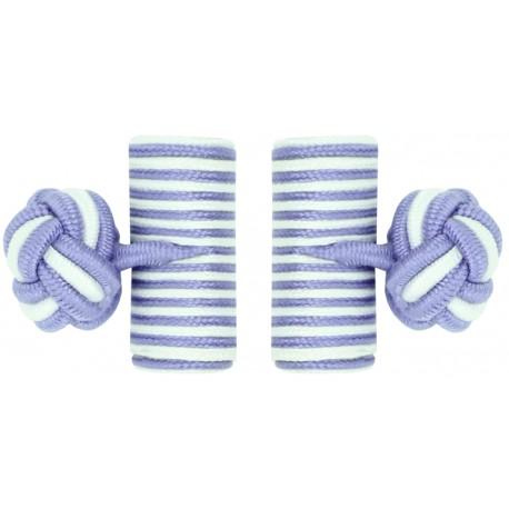 Light Purple and White Silk Barrel Knot Cufflinks