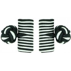 Black and White Silk Barrel Knot Cufflinks