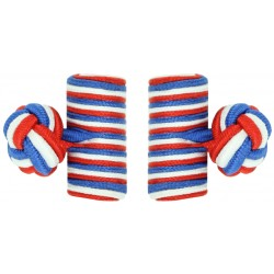 Red, White and Cobalt Blue Silk Barrel Knot Cufflinks