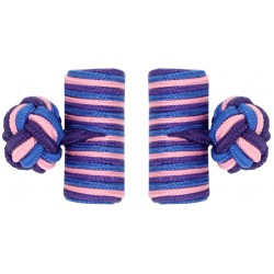 Cobalt Blue, Pink and Purple Silk Barrel Knot Cufflinks