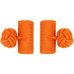 Orange Silk Barrel Knot Cufflinks