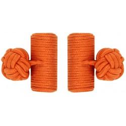 Dark Orange Silk Barrel Knot Cufflinks