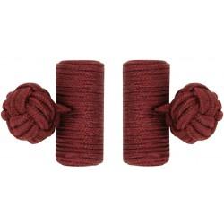 Burgundy Silk Barrel Knot Cufflinks