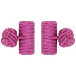 Fuchsia Silk Barrel Knot Cufflinks