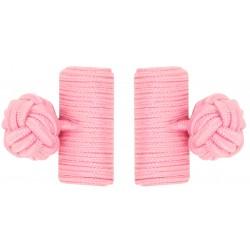 Pink Silk Barrel Knot Cufflinks