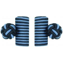 Navy Blue and Light Blue Silk Barrel Knot Cufflinks