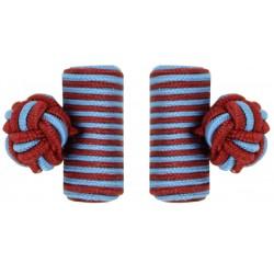 Dark Red and Light Blue Silk Barrel Knot Cufflinks