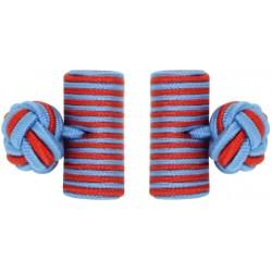Light Blue and Deep Red Silk Barrel Knot Cufflinks
