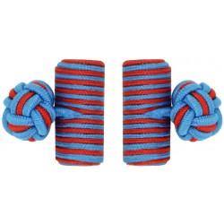 Blue and Deep Red Silk Barrel Knot Cufflinks
