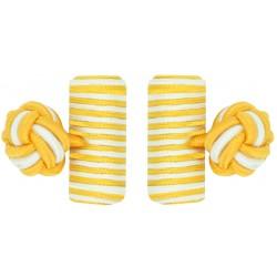 Dark Yellow and White Silk Barrel Knot Cufflinks
