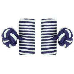 Purple and White Silk Barrel Knot Cufflinks